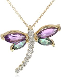 10k Yellow Gold Amethyst and Mystic Topaz Diamond Dragonfly Pendant Necklace, 18