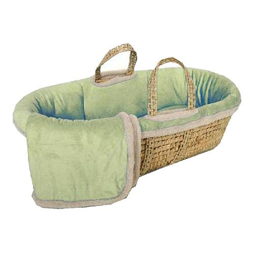 Sherpa Suede Moses Basket - Sage, Baby Furniture And Bedding, Mattresses, Children'S Accessories