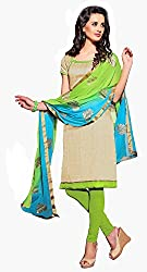 Ethnic For You Art Silk Unstitched Salwar Suit Dress Materials(Beige)