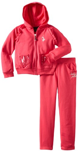 Baby Phat Girl's French Terry Jog Set, Geranium, 2T
