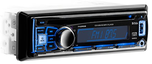 Boss Audio 742RGB - In-Dash, Single DIN, MP3 Compatible, CD, AM/FM Receiver, Featuring Multi-Color Illumination Options