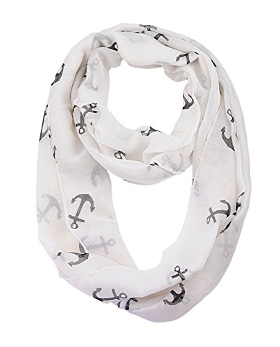 nyfashion101-womens-nautical-marine-anchor-print-infinity-scarf-cowl-off-white