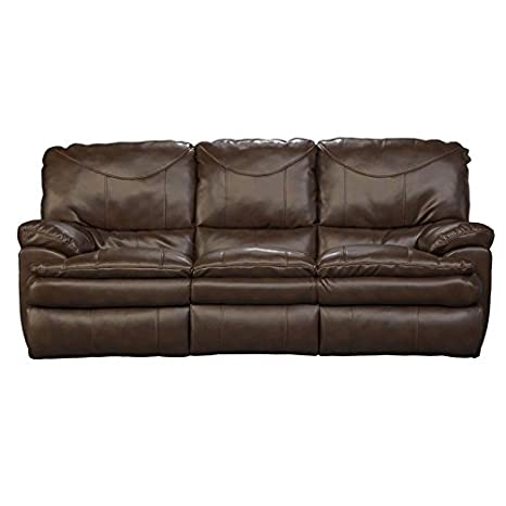 Catnapper Perez Reclining Leather Sofa in Chestnut