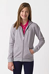 Girl's Long Sleeve Full Zip Hoodie Sweatshirt with Gathering Detail