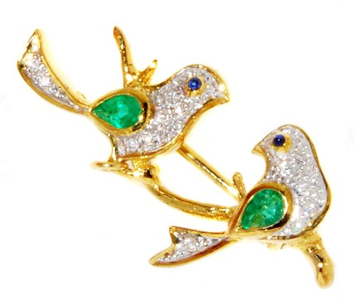 Diamond Emerald Couple birds Brooch/Pin 18K Yellow Gold