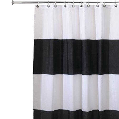 mDesign Tenda Doccia in Tessuto Antimuffa e Idrorepellente, 180 x 180 cm - Nero/Bianco