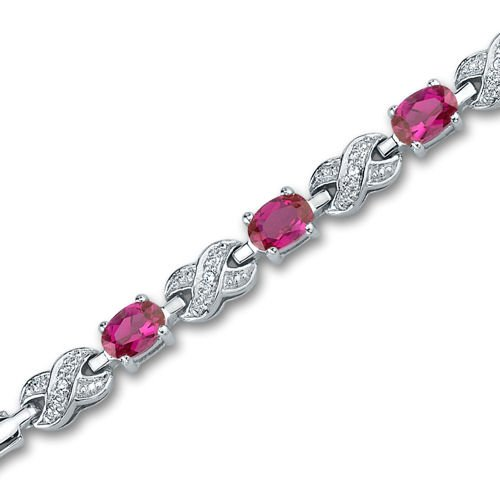 Revoni Luxurious Oval Cut Created Ruby & White CZ Gemstone Bracelet in Sterling Silver