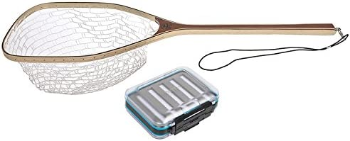 Wetfly Catch and Release Fishing Net Medium Rubber Basket with Waterproof Fly Box