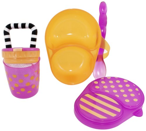 Sassy First Solids Feeding Set, Pink/Orange, 4 Plus Months