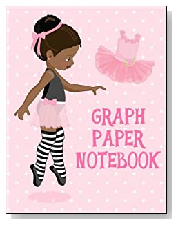 Graph Paper Notebook For Girls - A cute little black ballerina against a mostly pink background graces the cover of this graph paper notebook for younger girls.