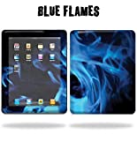 Protective Vinyl Skin Decal Cover for Apple iPad tablet e-reader 3G or Wi-Fi Sticker Skins - Blue Flames