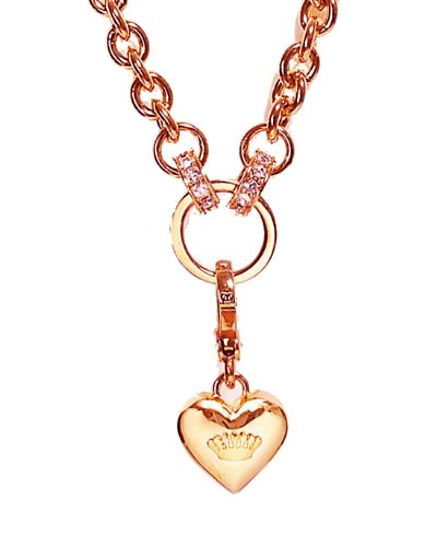 Juicy Couture Silver Chunky Link Charm Catcher Necklace, Rosegold 28