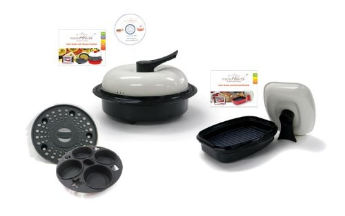 Microhearth Cookware Set (Everyday Pan Combo & Grill Pan) for Microwave Oven, Black