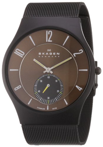 Skagen Mens Watch 805XLTBD with Black Stainless Steel Bracelet and Brown Dial