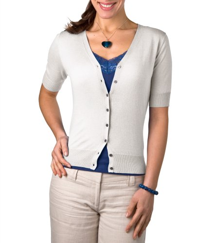 Womens Silk & Cotton Short Sleeved Cardigan