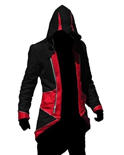 Rulercosplay Assassin's Creed 3 Connor Kenway Hoodie Jacket (Large, Black& Red)