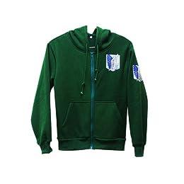 進撃の巨人 調査兵団 エレン ミカサ ジャージー/パーカー コスプレ衣装 グリーン Lサイズ Ruleronline