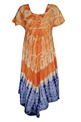 Indiatrendzs Women's Dress Boho Poncho Tie Dye Orange Dresses