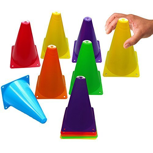 Toy Cubby Colorful Flexible Plastic Activity Play Traffic Cones Set - 12 Pcs (Mini Toy Construction Cones compare prices)