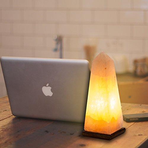 [Hand Crafted] HemingWeigh Natural Air Purifying Himalayan Rock Salt Obelisk Lamp with Wood Base ...