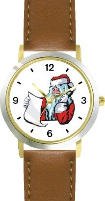 Santa Claus With List On Phone Christmas Theme - Watchbuddy® Deluxe Two-Tone Theme Watch - Arabic Numbers - Brown Leather Strap-Children'S Size-Small ( Boy'S Size & Girl'S Size )