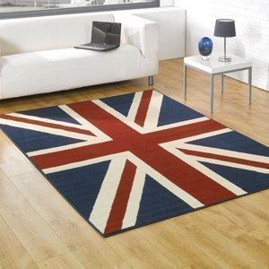 Alfombra con bandera británica Union Jack estampada, tamaño grande, precio pequeño. 120 x 160cm Envío al RU excepto Islas del Canal por Union Jack
