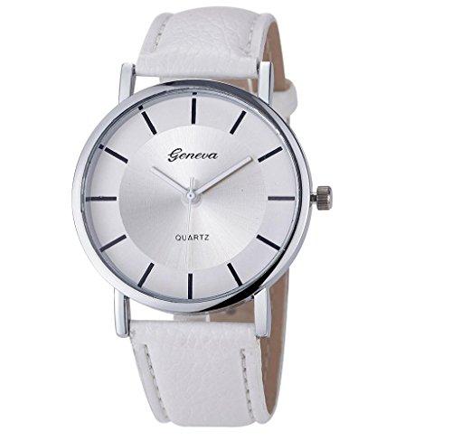 ZARU Las mujeres refinamiento retro del dial de cuero de imitación de cuarzo analógico relojes de pulsera WH