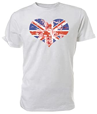 Union Jack Heart and Flowers T shirt white size large