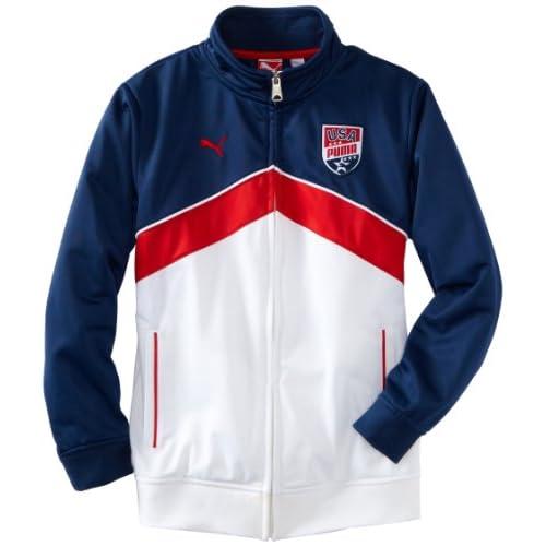 PUMA Big Boys USA Team Jacket, Blue, X Large