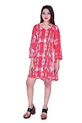 MSONS Women's Red Shibori A-line V-Neck Short Dress in Rayon Fabric