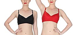 Glus Women's Seamless Padded Wire Free Bra ,Pack Of 2 ( Black + Red ) , Cup Size - B (B, Black + Red, 34)