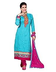 Lookslady Embroidered Light Blue Bhagalpuri Silk Zari Work Semi Stitched Salwar Suit