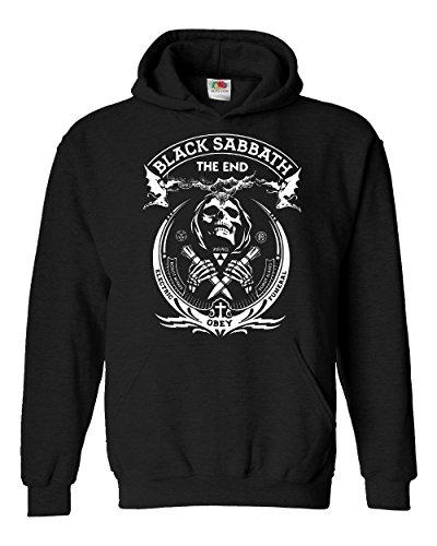 """Felpa Unisex """"Black Sabbath"""" - The End - Felpa con cappuccio rock band LaMAGLIERIA, XL, Nero"""