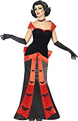 Smiffy's Women's Glam Vampires Costume with Dress Gloves and Choker, Red/Black, Medium