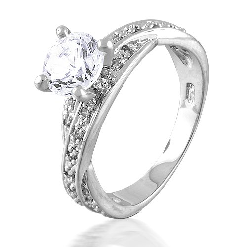 Bling Jewelry Sterling Silver 1.2K CZ Pave Solitaire Engagement Ring &#8211; 8