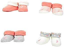 Nautica Baby Girls\' 4 Pack Assorted Booties, Peach, 0-6 Months