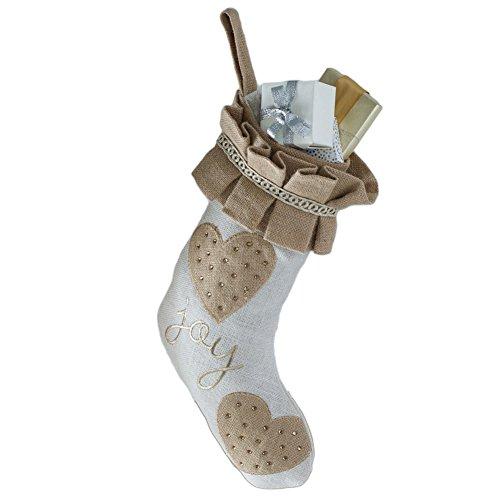 Mud Pie Glitter Holiday Christmas White Burlap Stockings (Joy)