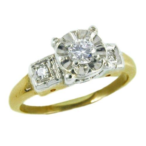 14K Antique Diamond Engagement Ring circa 1940s illusion setting