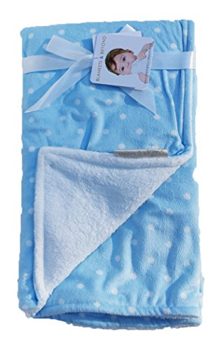 Blankets & Beyond Soft Reversible Blue White Polka Dots Baby Blanket - 1