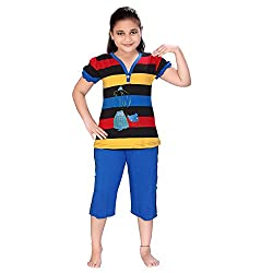Designer Multicolor Striped Printed Night Dress Top & Capri Sets With Cartoon Print For Girls Night Suits