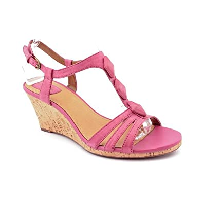 clarks laguna womens pink open toe leather wedge