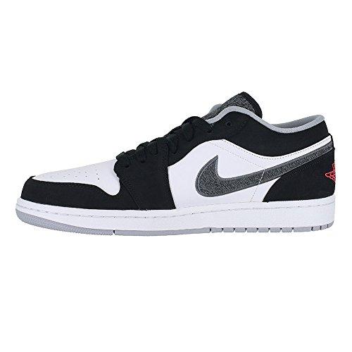 pictures of Nike Jordan Men's Air Jordan 1 Low Black/Infrrd 23/White/Wlf Grey Basketball Shoe 10 Men US