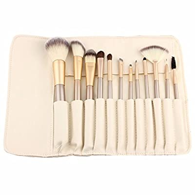 12 Piece Makeup Brushes Set | Horse Hair Professional Kabuki Makeup Brush Set Cosmetics Foundation Makeup Brushes Set Kits with White Cream-colored Case Bag