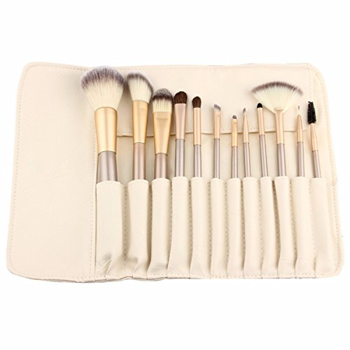 12 Piece Makeup Brushes Set | Horse Hair Professional Kabuki Makeup Brush Set Cosmetics Foundation Makeup Brushes Set Kits with White Cream-colored Case Bag (Best Brush Set compare prices)