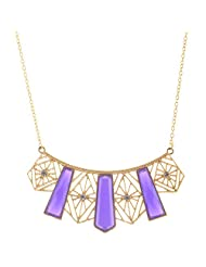 Mask Fashions Gold Metal Purple Stone Necklace For Women