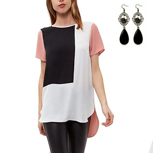Sitengle Donna T-shirt a Maniche Corte Giuntura Colore Blocco Maglia Bluse Lunga Camicia Camicetta Tops