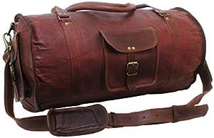 "Genuine Leather Bag Shop 21""x11x11 Mens Round Vintage Leather Duffel Travel Bag"