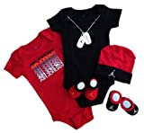 Nike Jordan Infant New Born Baby Boy/Girl 0-6 Months 2 Lap/Shoulder Bosyduits, 2 Pair of Booties and 1 Cap With Jordan Sign 5 PCS Set New