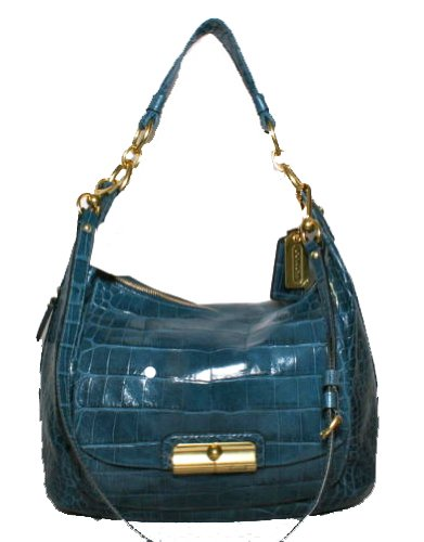 Authentic Coach Kristin Denim Blue Embossed Croc Expandable Large Hobo Handbag Denim Blue 16783
