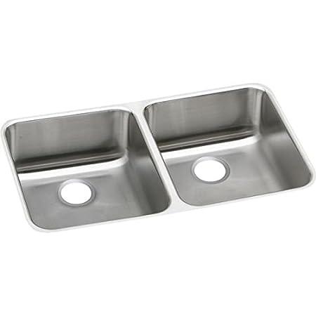 Elkao|#Elkay ELUHAD321650 18 Gauge Stainless Steel 31.75 Inch x 16.5 Inch x 4.875 Inch Double Bowl Undermount Kitchen Sink,